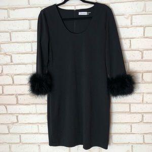 Calvin Klein Feather Trim Little Black Dress Sz10